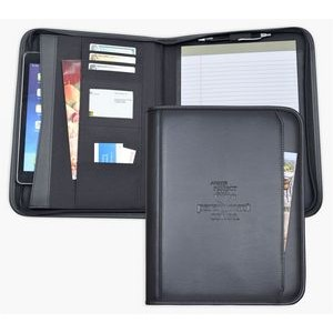 Zippered Letter Size Business Case/Padfolio, iPad case, Black soft simulated leather.